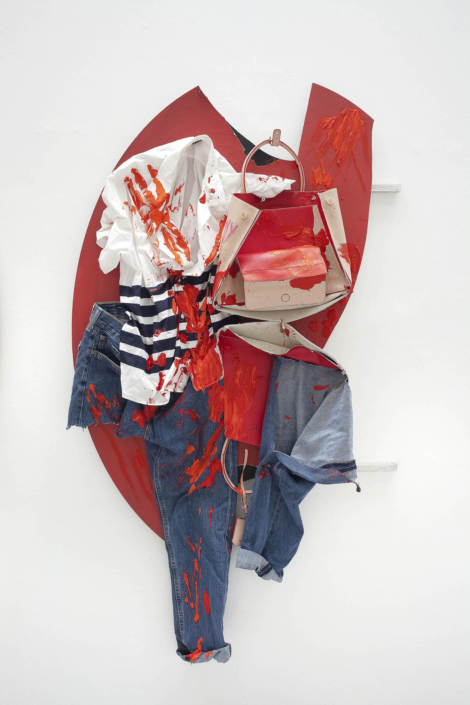 7 - Yves Scherer CY 2015 Aluminium Dibond Prada Bag T-Shirt Pants and Acrylic Paint 135x85 cm - Courtesy Studiolo Milan - Photo Filippo Armellin