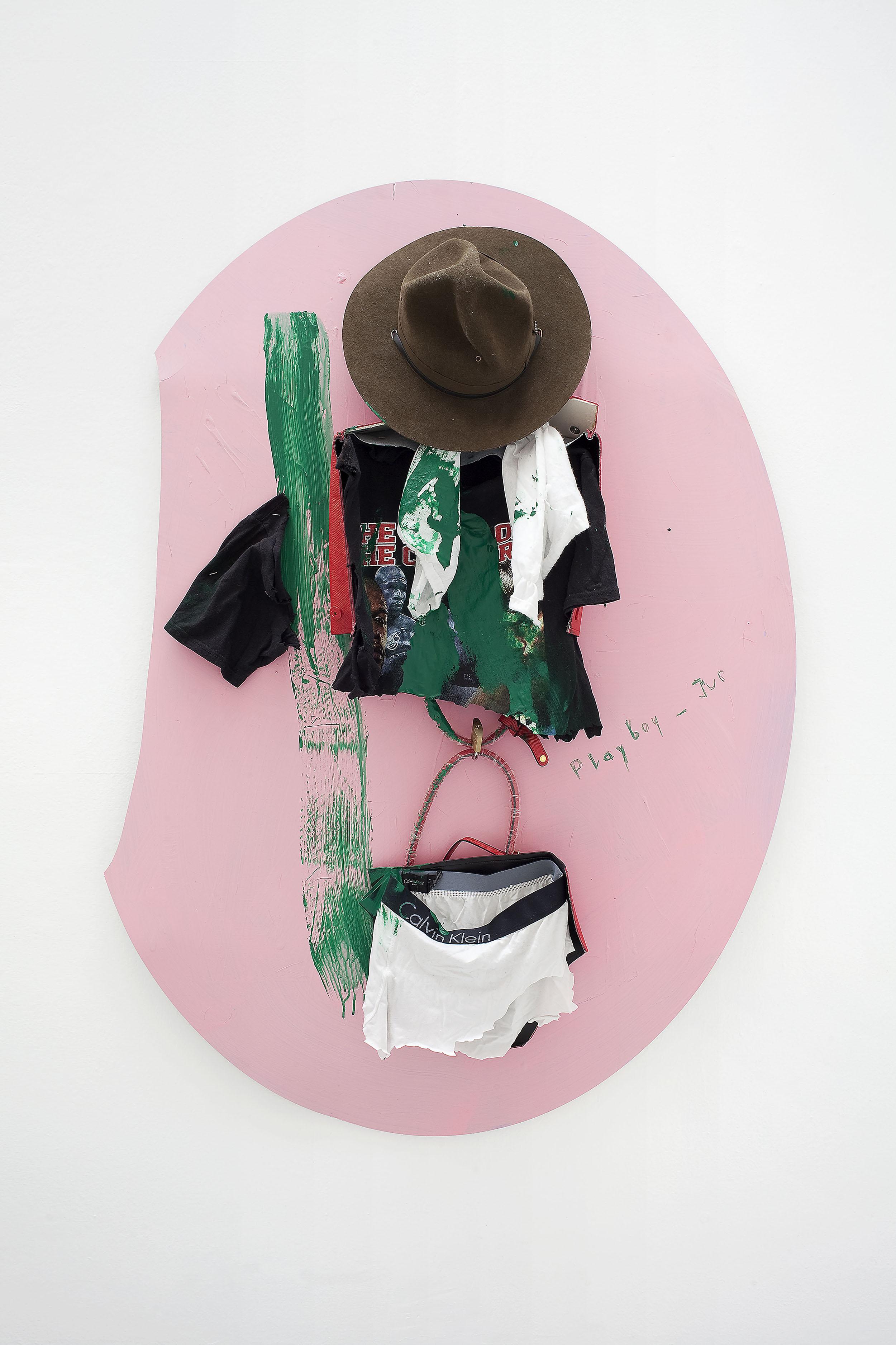 8 - Yves Scherer GP 2015 Aluminium Dibond Prada Bag T-Shirt Pants and Acrylic Paint 135x102 cm - Courtesy Studiolo Milan - Photo Filippo Armellin